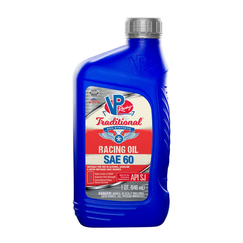 VP SAE 60 Traditional Non Syn Racing Oil Quart Retail Bottle