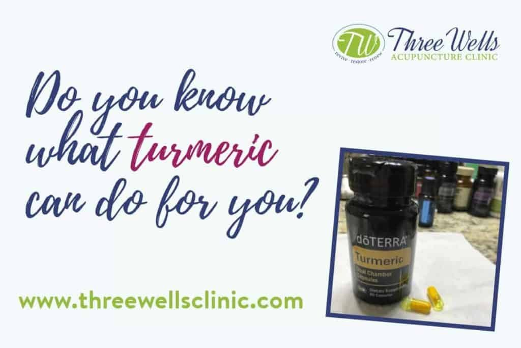 Turmeric and Three Wells Acupuncture clinic logo