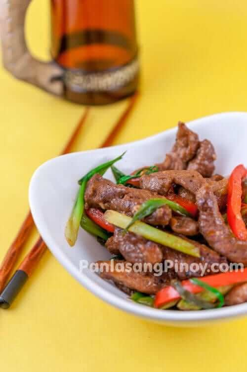 pork stir fry with scallions and red bell pepper