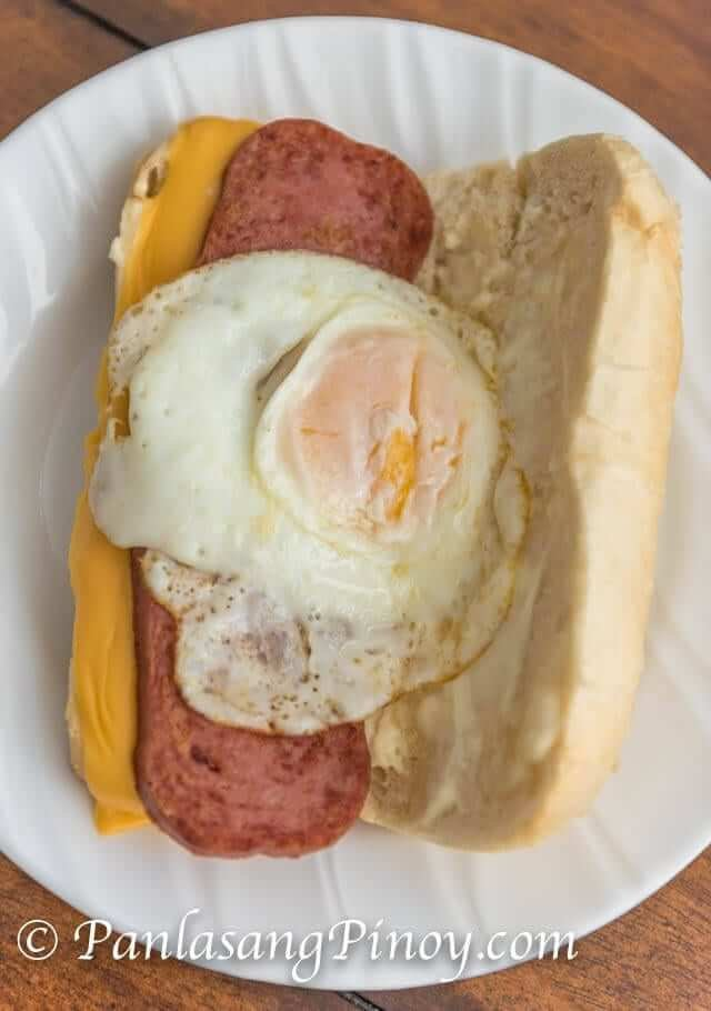 spam and egg sandwich with cheese