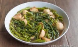 Kangkong with Squid Balls in Oyster Sauce