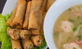 Crab and Corn Pearl Soup and Chinese Spring Rolls
