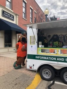 mascot with info truck