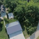 aerial view of home and trees