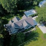 aerial view of house with pool