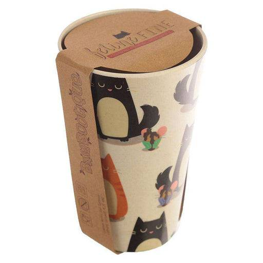 Zero Zen Reusable Bamboo Composite Cup - Feline Fine Cat BAMB18 with label on