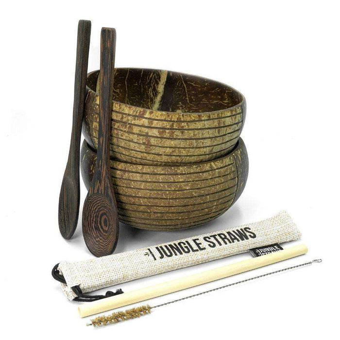 Jungle Culture Coconut Bowl Natural Coconut Bowl coconut bowl with spoons and straws