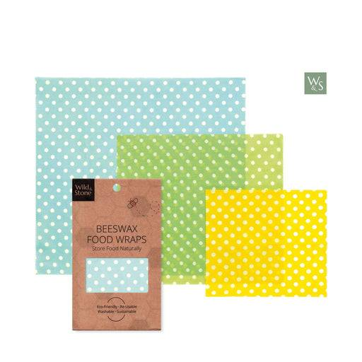 Wild & Stone Beeswax Food Wraps Beeswax Food Wraps - Polka Dot Pattern laid outside of cover