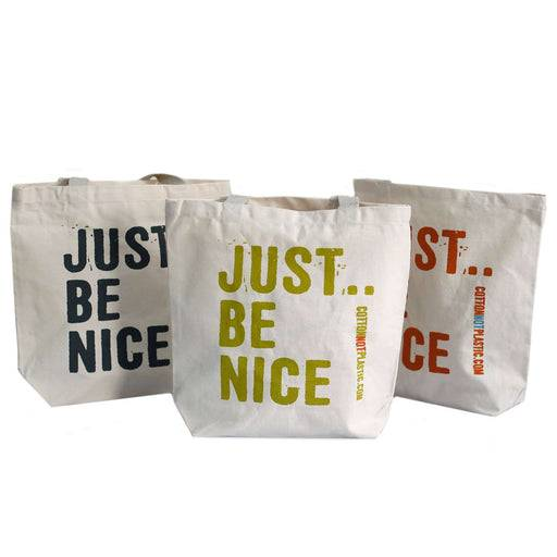 Zero Zen Eco bags Eco Cotton Bags - Just Be Nice 3 colour designs