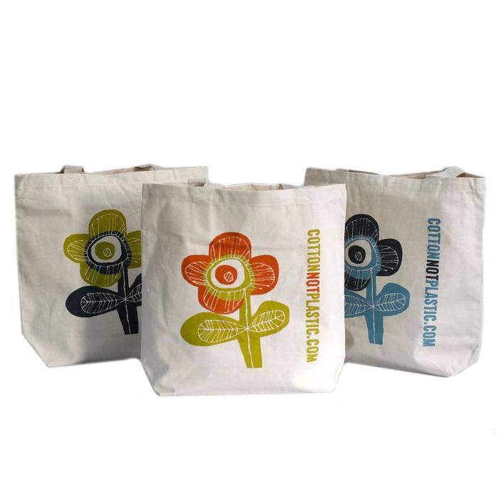 Zero Zen Eco bags Black Eco Cotton Bags - Bright Flower 3 colours