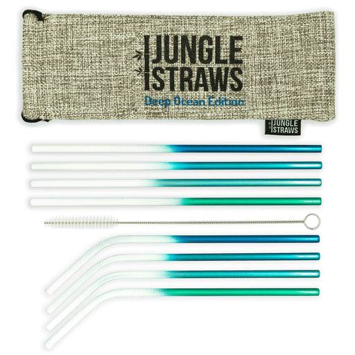 Jungle Culture Steel Straws Blue Stainless steel straw sets - Ocean inspired laid out on white background