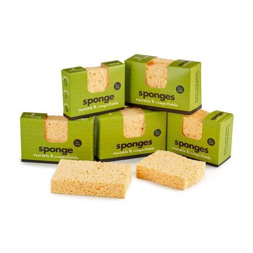 Eco Living Sponge Plastic Free Biodegradable Sponge multipel resting next to each other