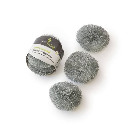 Eco Living Steel Scourer Pads Steel Scourer Pads - 3 Pack Laid out
