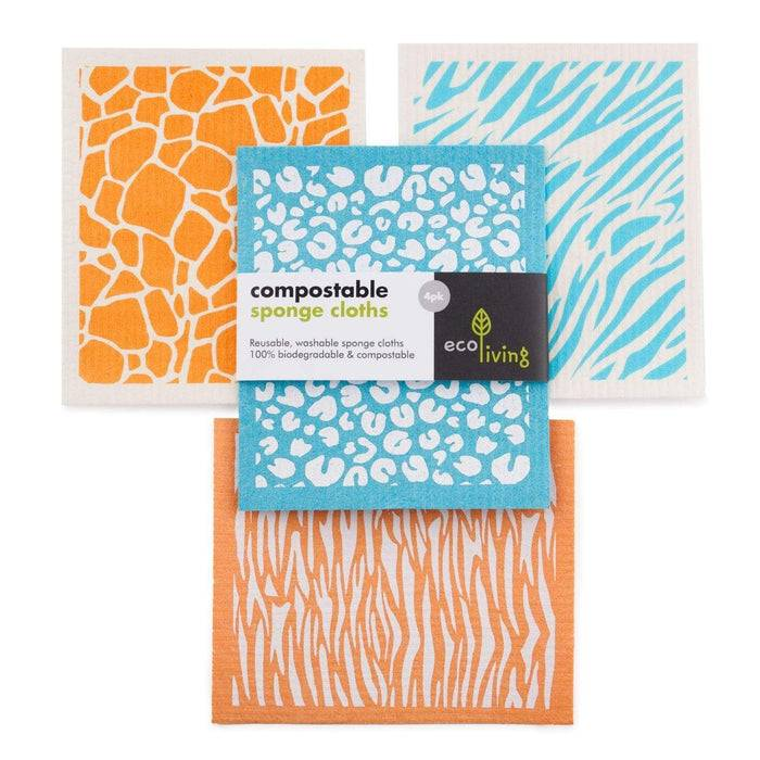 Sponge Cleaning Cloths - Compostable Sponge With Animal Print
