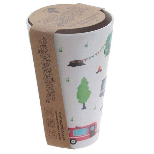Zero Zen Reusable Bamboo Composite Cup - Caravan Design BAMB11 side view with label on