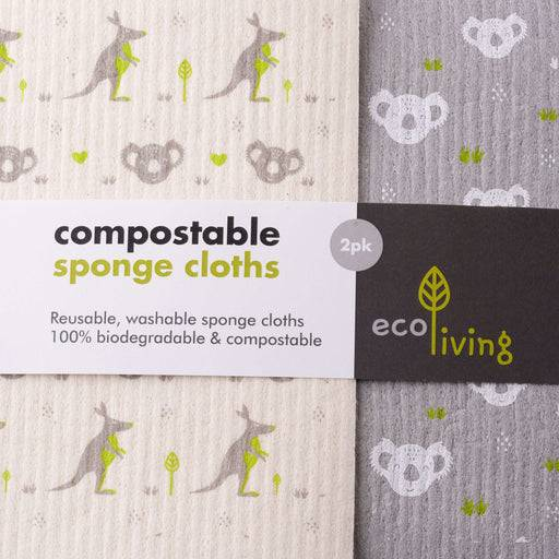 Cleaning Cloth Kangaroo and Koala Cleaning Cloths - Biodegradable Sponge  put together