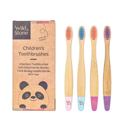 Wild & Stone Toothbrush Children's Bamboo Toothbrush - Soft Bristles - Candy lined up