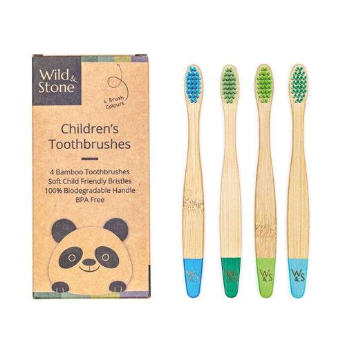 Wild & Stone Toothbrush Soft Bristles Bamboo Toothbrush - Children's - Aqua WS4-TTH-CHLD-BOY laid out