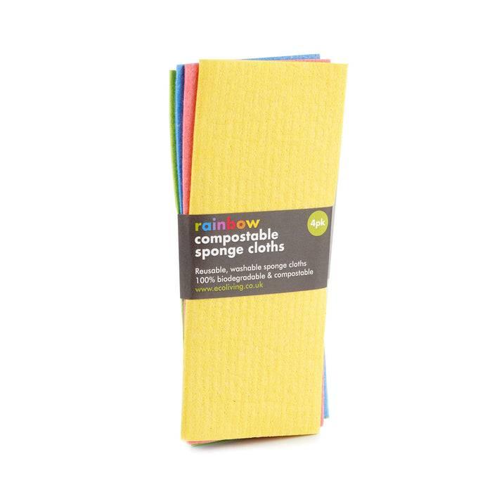 Eco Living Sponge Cloths Multicoloured Biodegradable Sponge Cleaning Cloths
