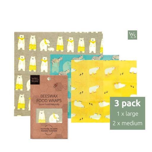 Wild & Stone Food Wraps Beeswax Food Wraps - 2x Medium, 1x Large - Animals
