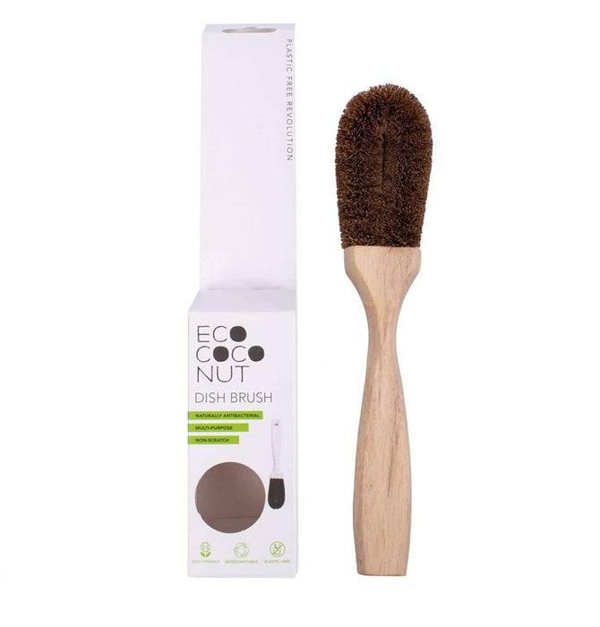 Eco Living Dish Brush Coconut Dish Brush - Vegan & Biodegradable Dish Brush next to packaging