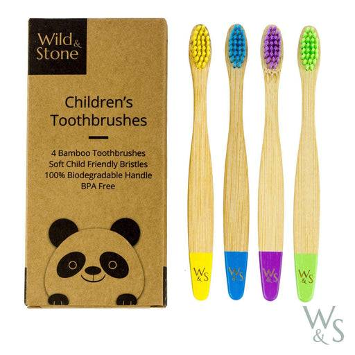 Wild & Stone Toothbrush Children's Bamboo Toothbrush - Soft Bristles - Multi Colours next to packaging