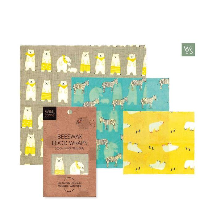 Wild & Stone Food Wraps Beeswax Food Wraps - Animal Pattern laid out