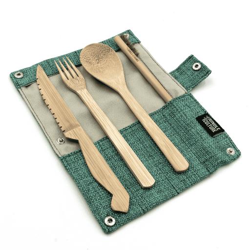 Jungle Culture Cutlery Set Teal Bamboo Cutlery Set blue case