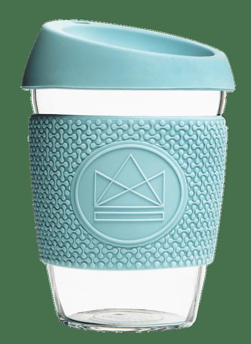 Neon Kactus Coffee Cup Glass Coffee Cups - 12oz Pale Blue Coffee Cup