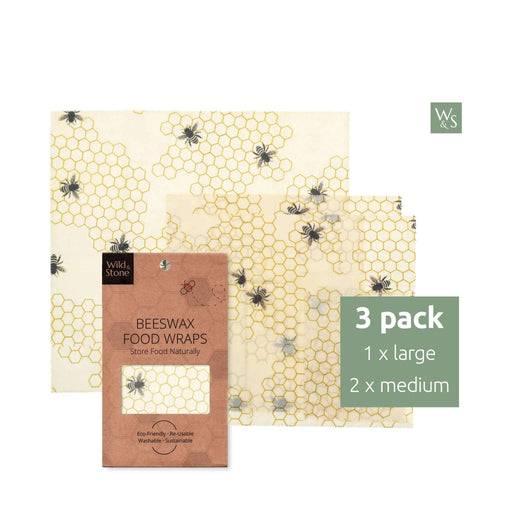 Wild & Stone Food Wraps 3 Pack Beeswax Food Wraps - 2x Medium, 1x Large - Honeycomb