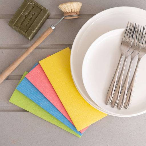 Eco Living Sponge Cloths Multicoloured Biodegradable Sponge Cleaning Cloths laid out on table