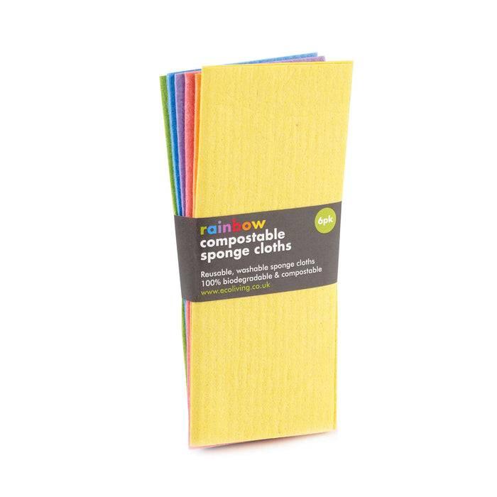 Eco Living Sponge Cloths Multicoloured Biodegradable Sponge Cleaning Cloths slighty spread