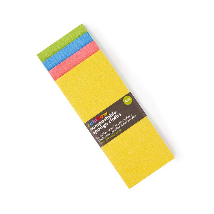 Eco Living Sponge Cloths Multicoloured Biodegradable Sponge Cleaning Cloths on top of each other showing colours