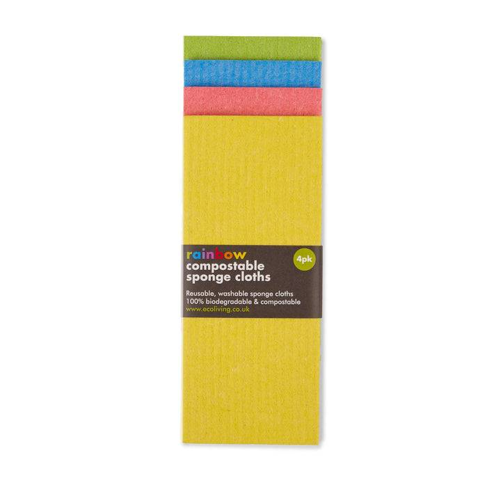 Eco Living Sponge Cloths Multicoloured Biodegradable Sponge Cleaning Cloths on top of each other showing colours and straightened