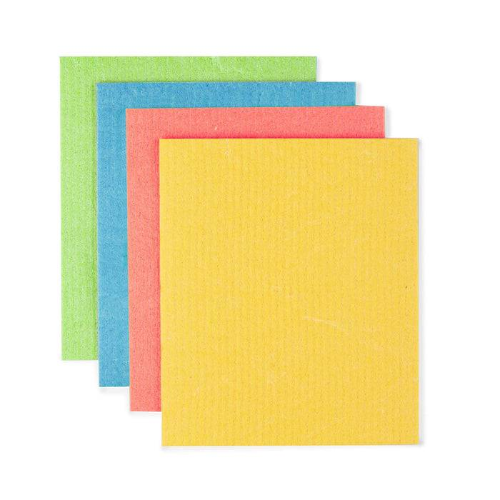 Eco Living Sponge Cloths Multicoloured Biodegradable Sponge Cleaning Cloths laid out