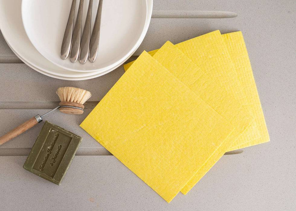Eco Living Sponge Cloths Multicoloured Biodegradable Sponge Cleaning Cloths multiple yellow on table