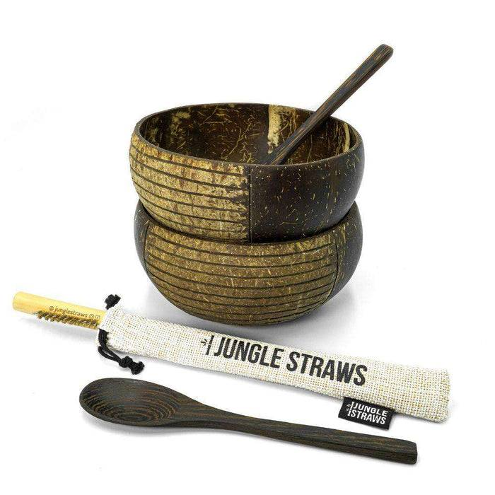 Jungle Culture Coconut Bowl Natural Coconut Bowl with spoons and straws from another angle
