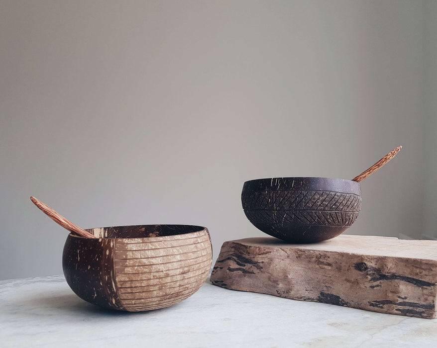 Jungle Culture Coconut Bowl Natural Coconut Bowl coconut bowls on wooden slab