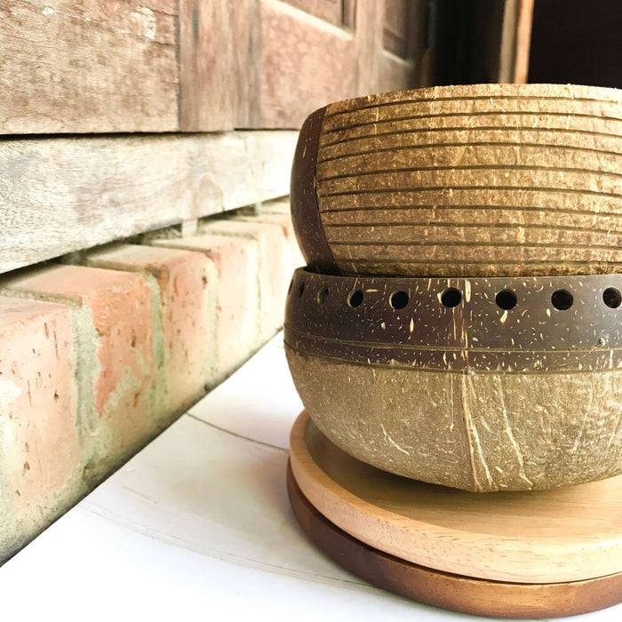 Jungle Culture Coconut Bowl Natural Coconut Bowl designs stacked up
