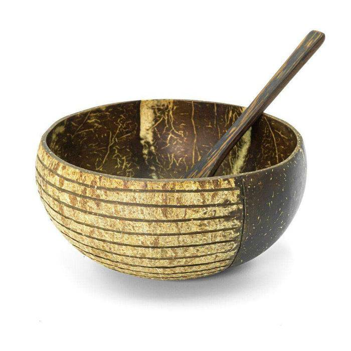 Jungle Culture Coconut Bowl Striped Natural Coconut Bowl Coconut  striped design