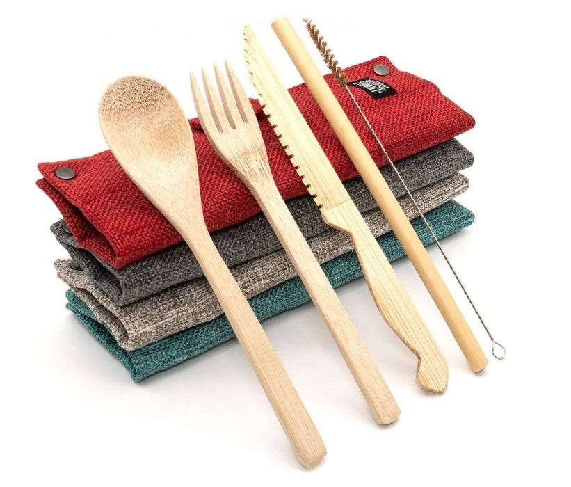Jungle Culture Cutlery Set Bamboo Cutlery Set multi-coloured cases stacked up