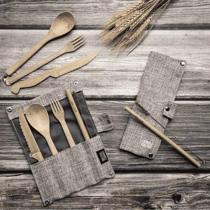 Jungle Culture Cutlery Set Bamboo Cutlery Set grey case laid out