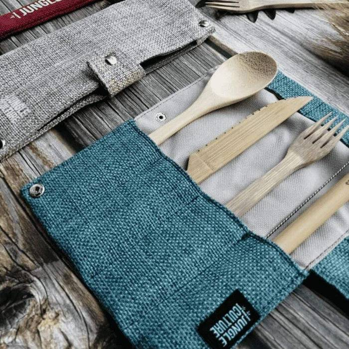 Jungle Culture Cutlery Set Bamboo Cutlery Set blue case laid out