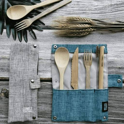 Jungle Culture Cutlery Set Bamboo Cutlery Set blue and grey case