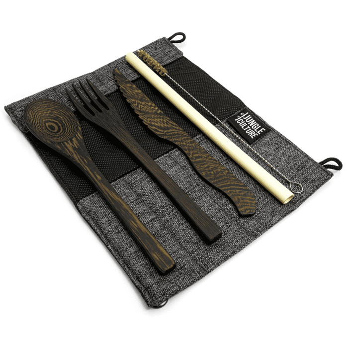 Jungle Culture Cutlery Set Dark Grey Hand carved reclaimed wooden cutlery set