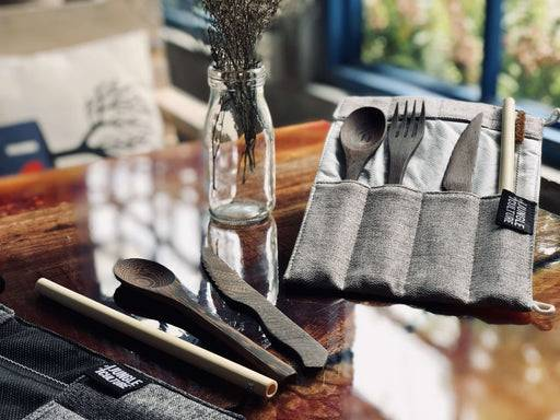 Jungle Culture Cutlery Set Hand carved reclaimed wooden cutlery set