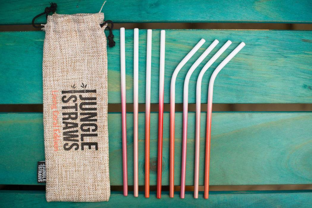 Jungle Culture Steel Straws Red Stainless steel straw sets - Ocean inspired red version laid out