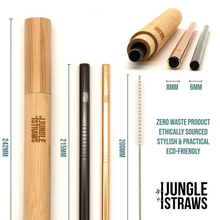 Jungle Culture Steel Straws Reusable Stainless Steel Straw Set with Bamboo Carry Case laid out with info on sides