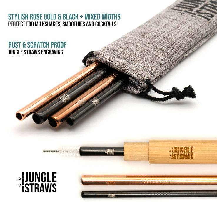 Jungle Culture Steel Straws Reusable Stainless Steel Straw Set with Bamboo Carry Case with information on sides