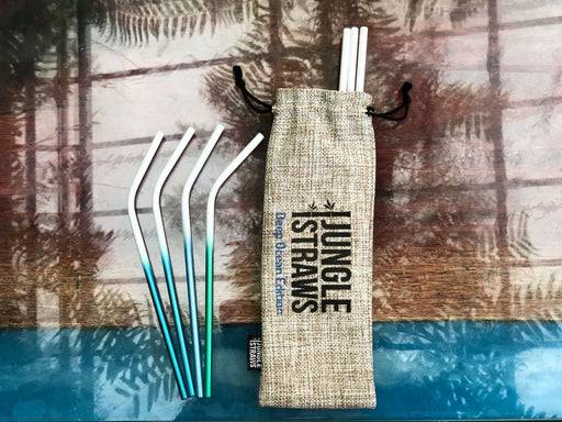 Jungle Culture Steel Straws Stainless steel straw sets - Ocean inspired laid out on glass table